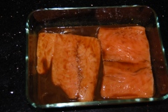 Salmon steaks in marinade